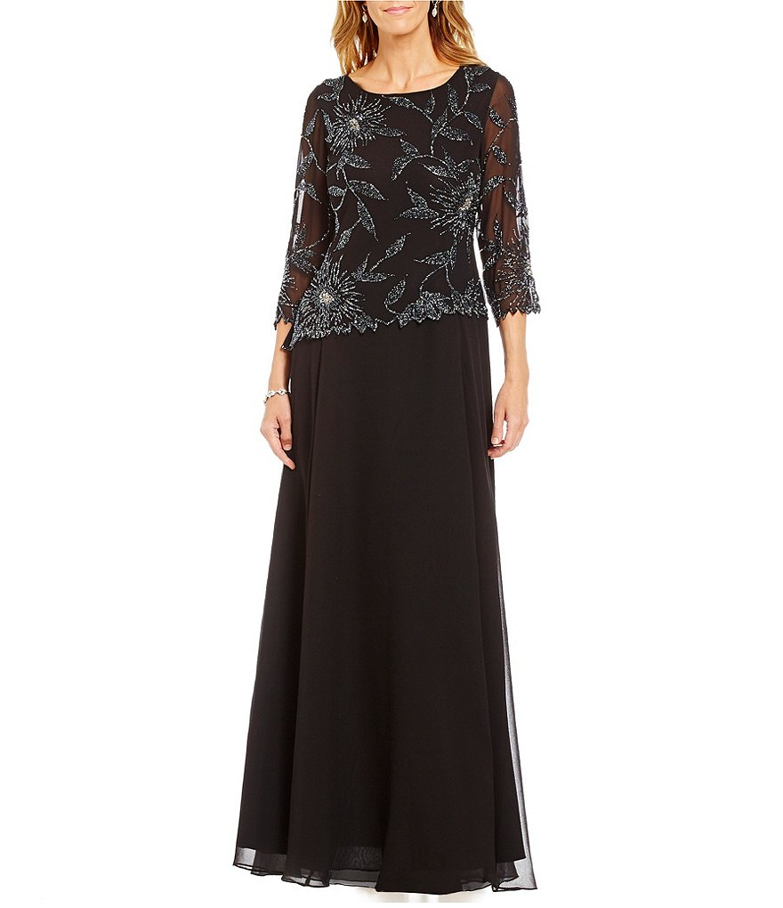 Jkara Round Neck 3/4 Sleeve Floral Beaded Chiffon Gown