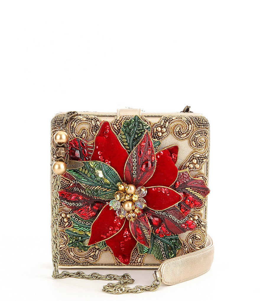 Mary Frances Believe Holiday Poinsettia Clutch