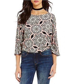 Buffalo David Bitton Marquise Boat Neck 3/4 Sleeve Tie-Back Printed Crop Top