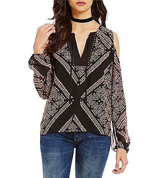 Buffalo David Bitton Printed Cold-Shoulder Long Sleeve Split Round Neck with Tassel Tie Blouse