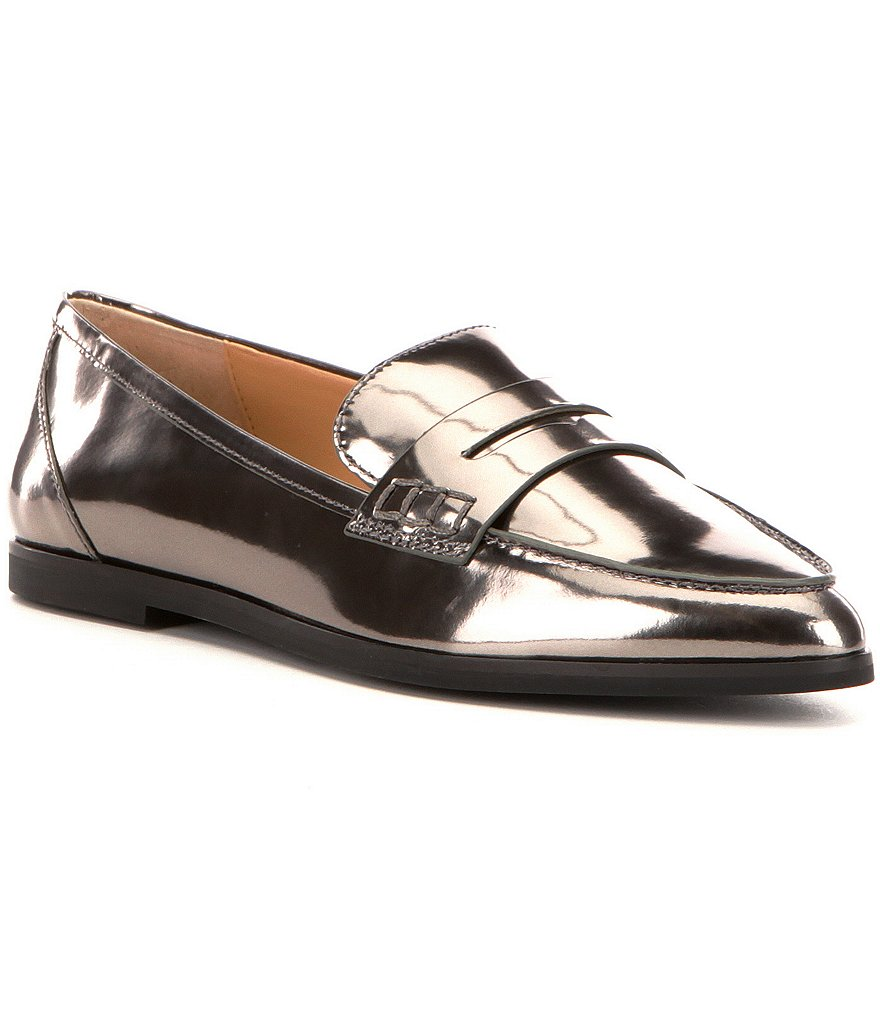 MICHAEL Michael Kors Connor Metallic Leather Pointed Toe Loafers