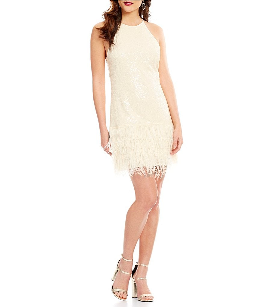Lucy Paris Halter Sequin Feather Dress