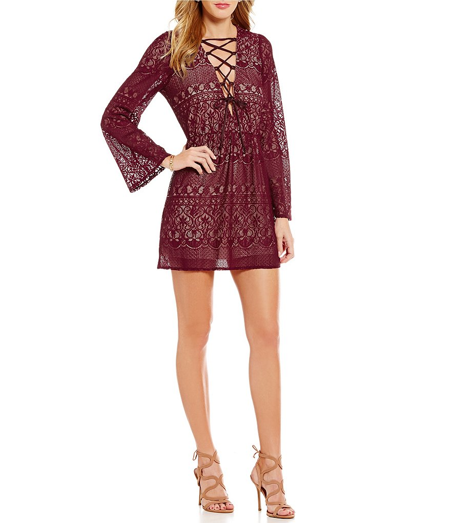 Honey and Rosie Lace-Up Long-Sleeve Lace Dress