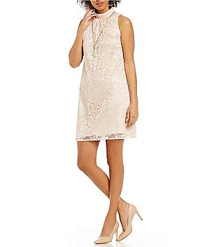 Leslie Fay Mockneck Cut-In Shoulder Lace Trapeze Dress