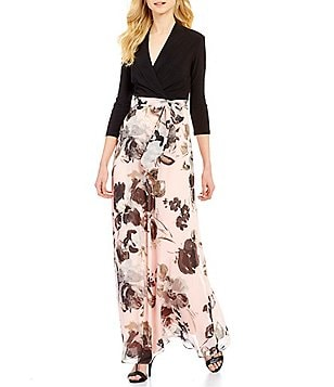 Leslie Fay Surplice V-Neck 3/4 Sleeve Floral Print Maxi Dress
