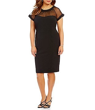 Leslie Fay Plus Illusion Sweetheart Neck Scuba Crepe Sheath Dress