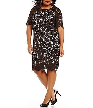 Leslie Fay Plus Round Neck Short Sleeve Contrast Lace Sheath Dress