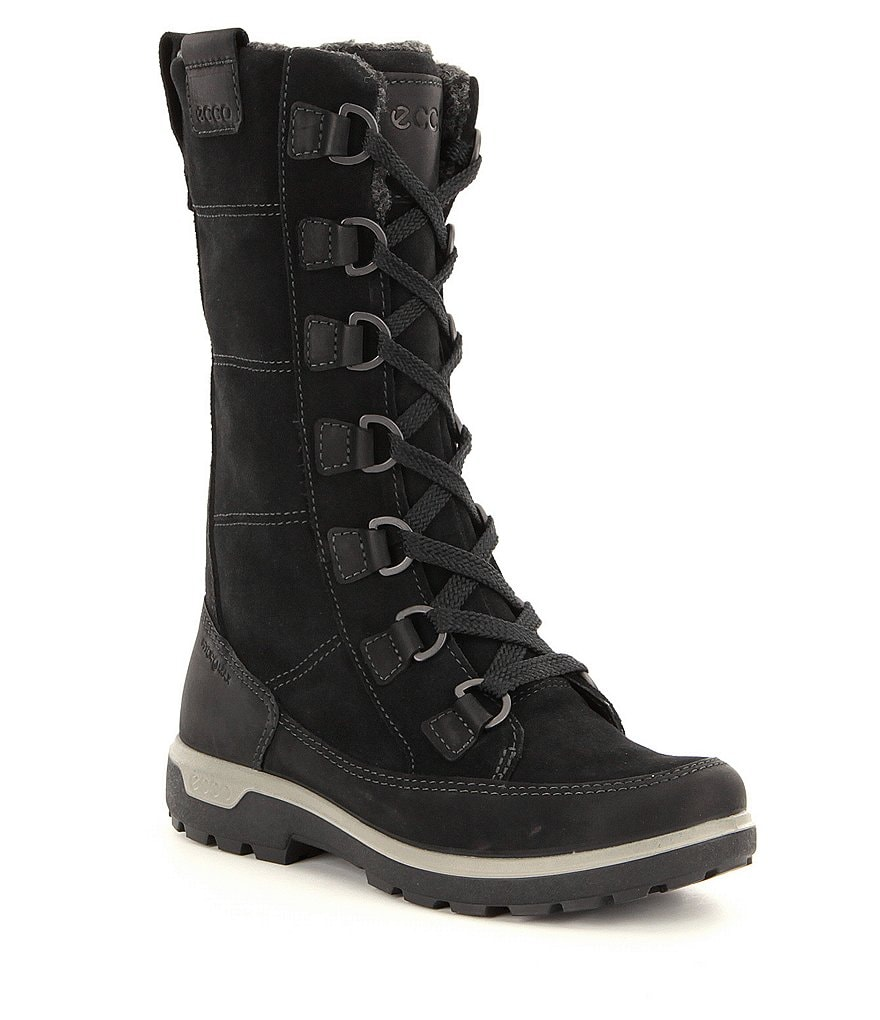 ECCO Gora Leather Warm-Lined Lace Up Tall Outdoor Boots