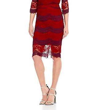Lucy Paris Lace Combo Pencil Skirt