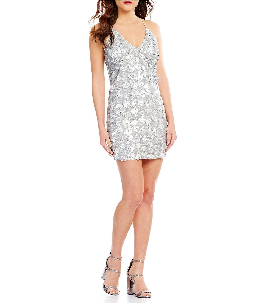 Lucy Paris Sequin Cross Back Dress