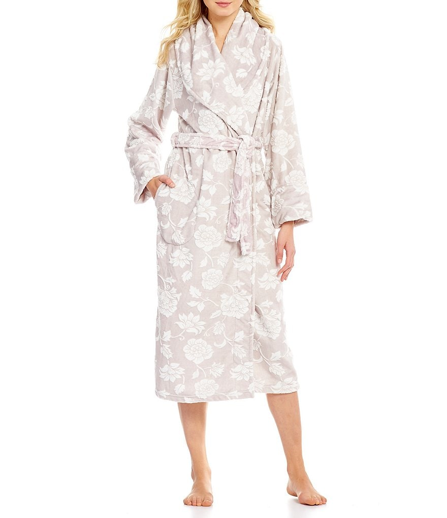 Cabernet Floral-Embossed Plush Wrap Robe