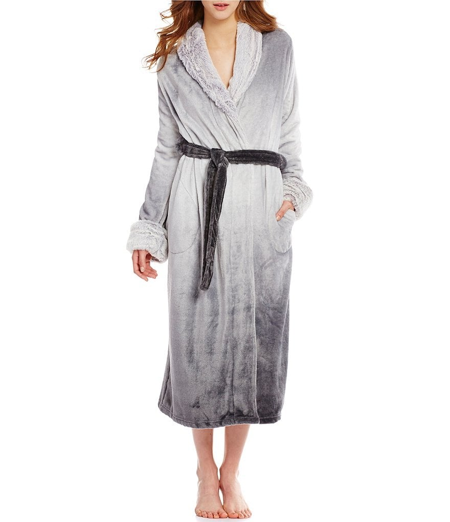 Cabernet Faux Fur-Trimmed Ombré Plush Wrap Robe