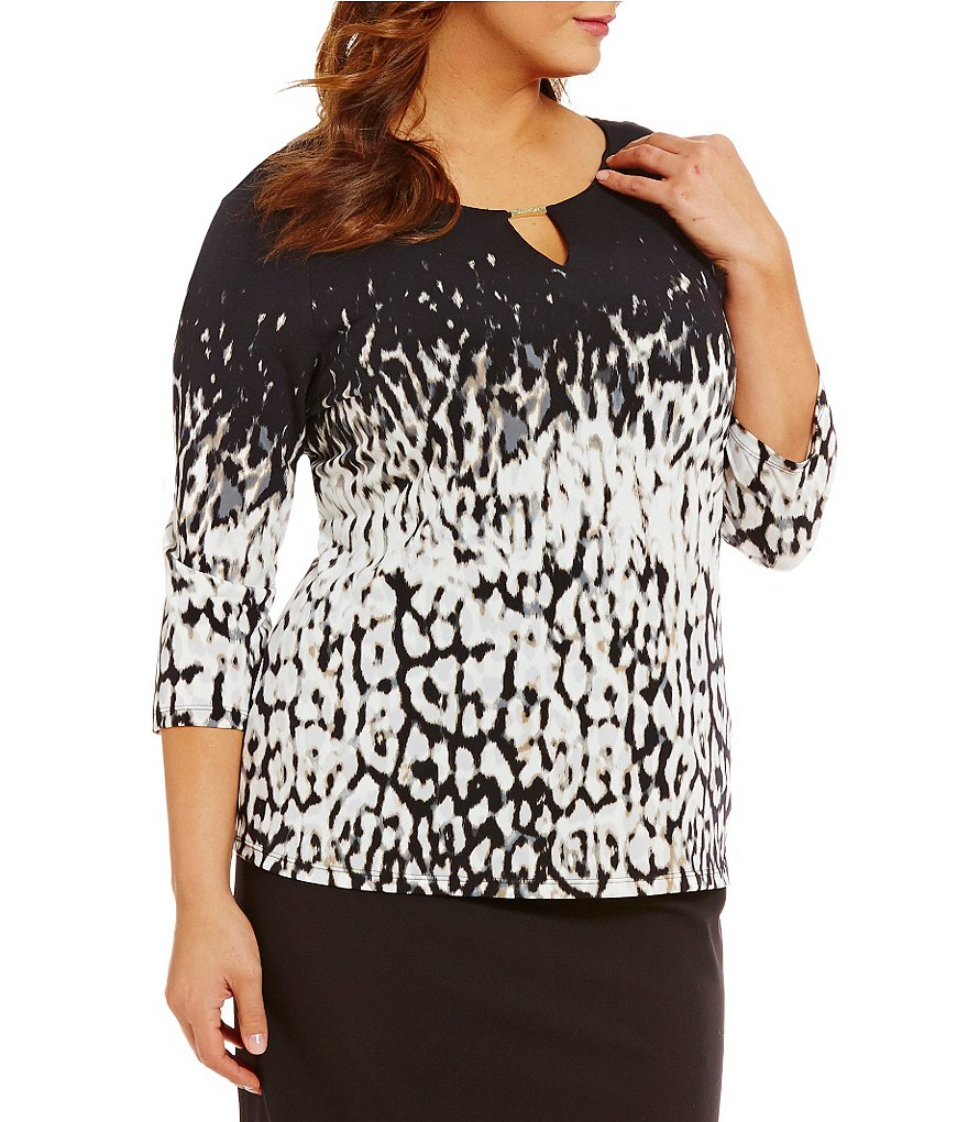 Calvin Klein Plus 3/4 Sleeve Keyhole Animal Print Top