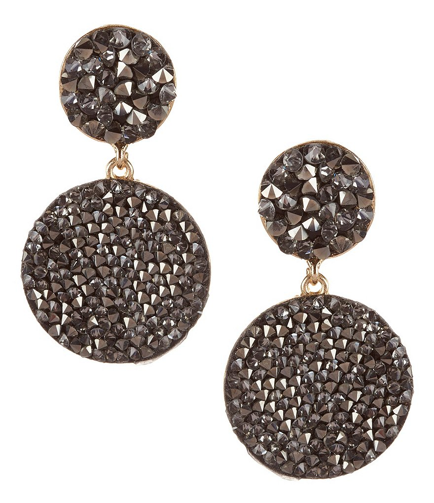 Natasha Accessories Fine Rock Double-Drop Earrings