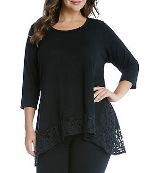 Karen Kane Plus Scoop Neck 3/4 Sleeve Lace Hi-Lo Top