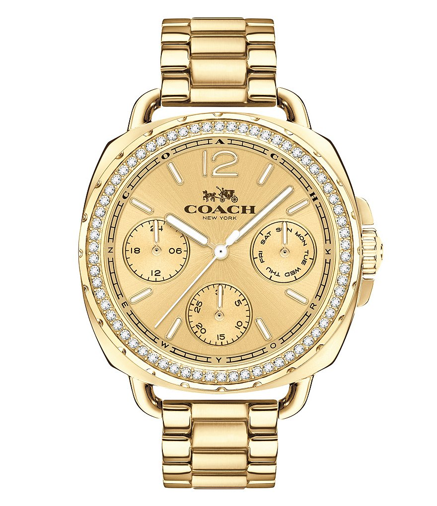 COACH TATUM GOLD-TONE SUNRAY DIAL BRACELET WATCH