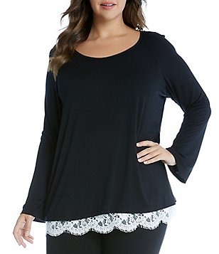 Karen Kane Plus Boat Neck Long Sleeve Lace Hem Top