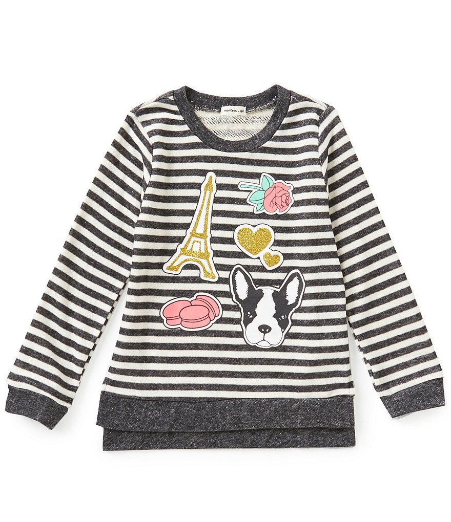Monteau Girl Big Girls 7-16 Striped Patch Sweater