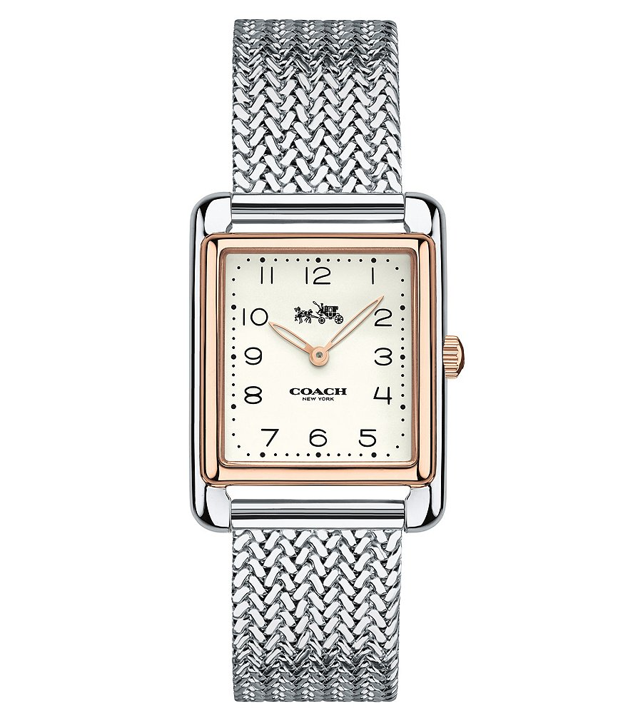 COACH PAGE RECTANGULAR STAINLESS STEEL MESH BRACELET WATCH