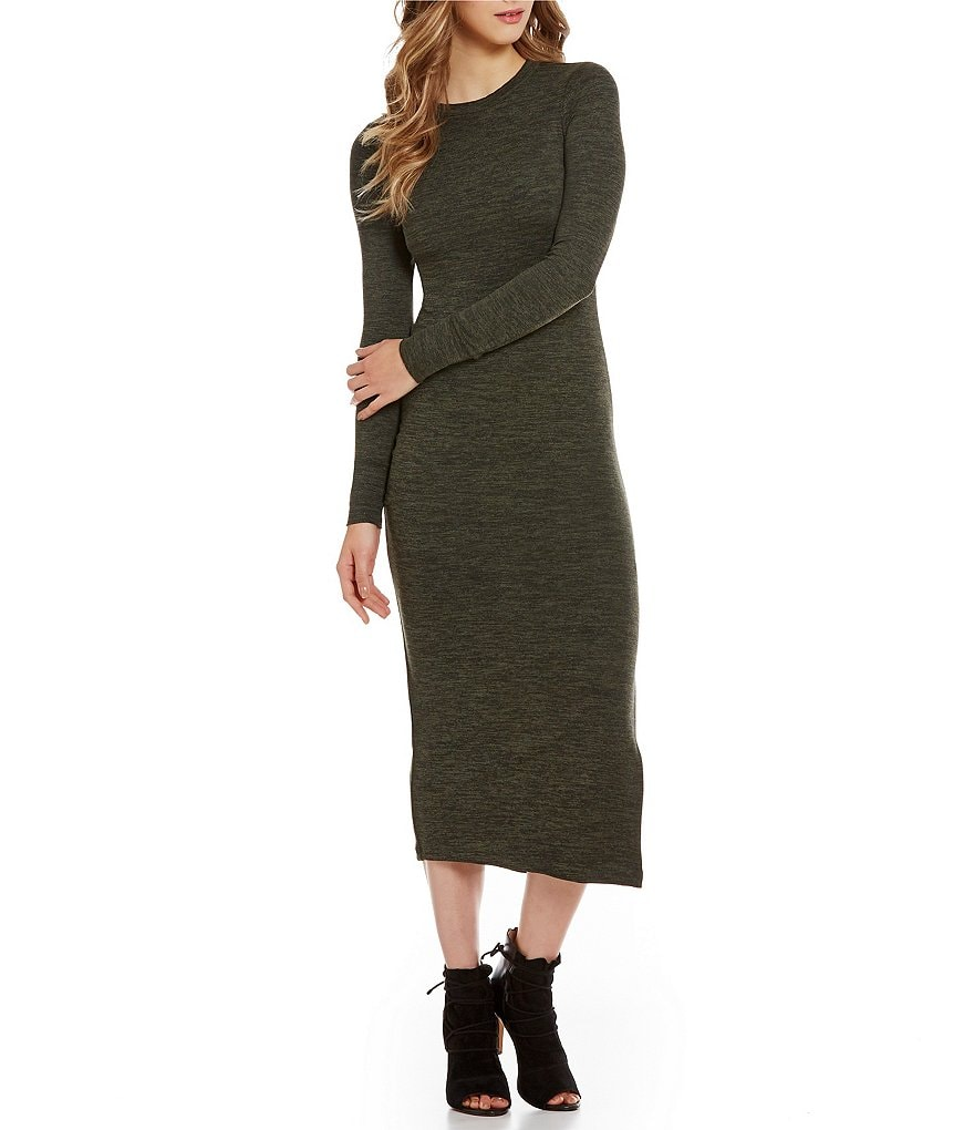 French Connection Sweeter Round Neck Long Sleeve Midi Sweater Dress