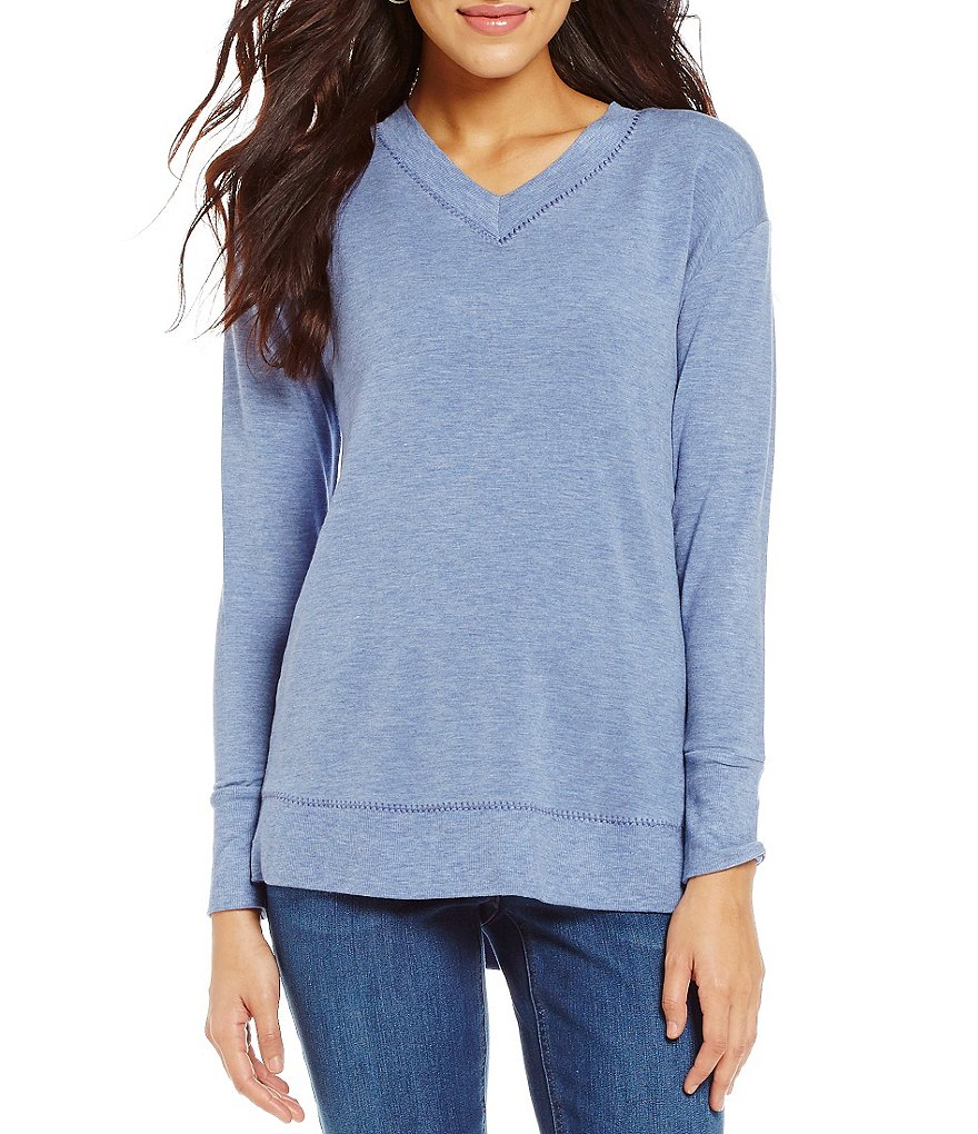 Westbound Long Sleeve Plush V-Neck Top