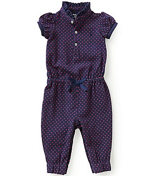 Ralph Lauren Childrenswear Baby Girls 3-24 Months Dot Print Ruffled-Stand-Collar Coverall