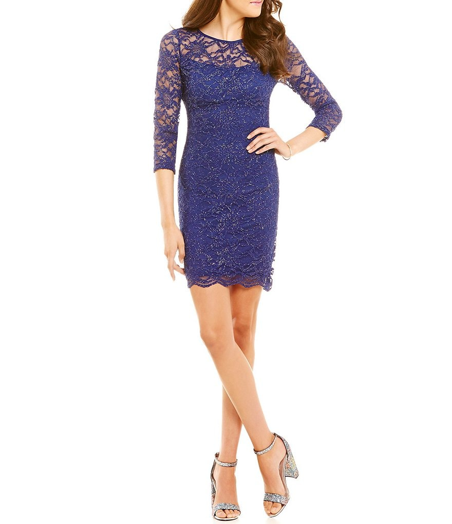 Honey and Rosie Glitter Lace Open Back Sheath Dress
