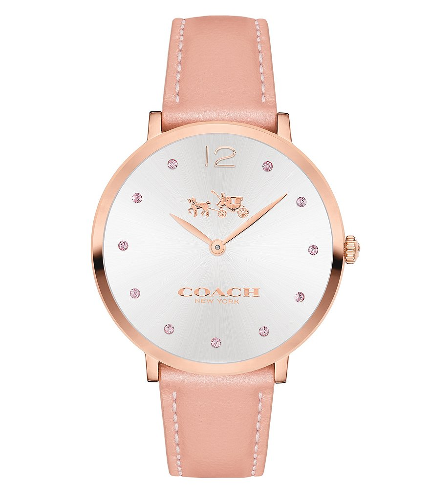 COACH SLIM EASTON BLUSH LEATHER STRAP WATCH