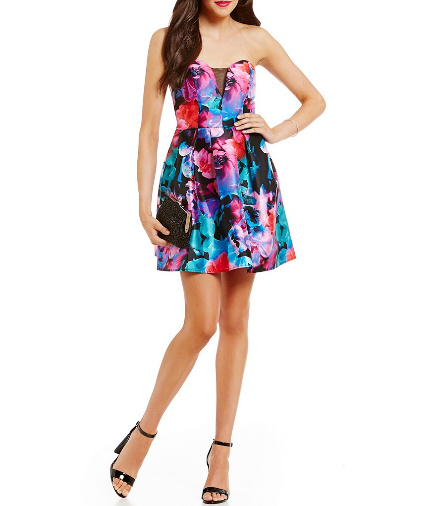 B. Darlin Sweetheart Neckline Strapless Floral Print Skater Party Dress