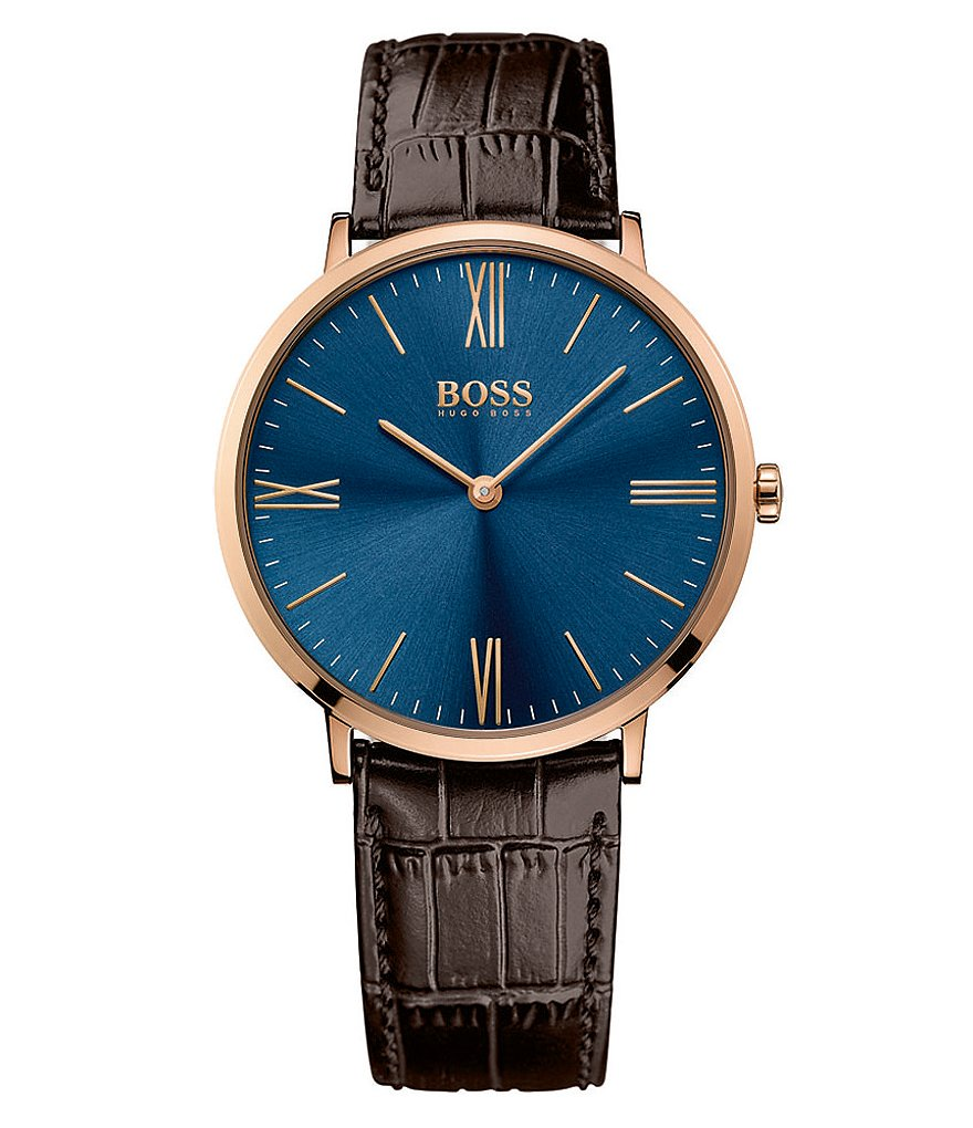 BOSS Jackson Analog Crocodile-Embossed Leather-Strap Watch