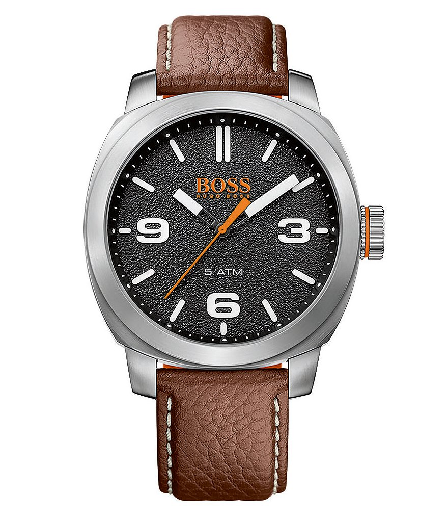 BOSS Cape Town Analog Leather-Strap Watch