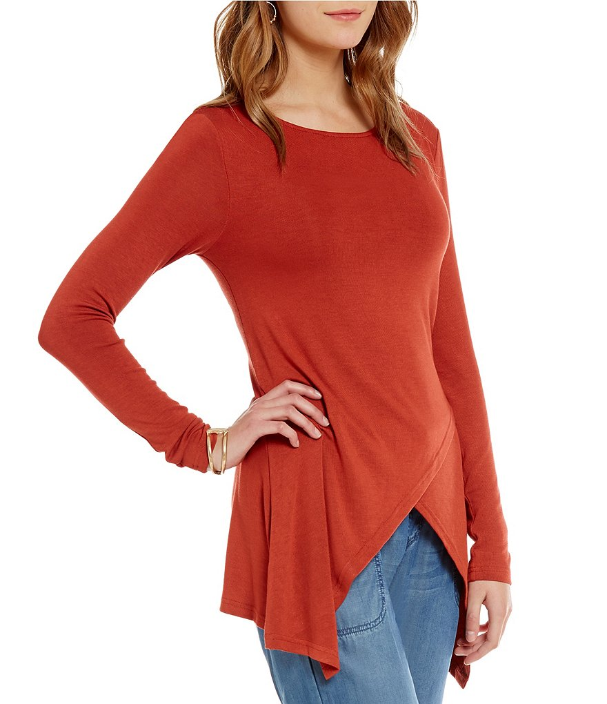 Nurture Cross Front Crew Neck Long Sleeve Solid Tunic