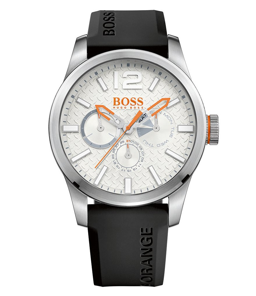 BOSS Paris Multifunction Silicone-Strap Watch
