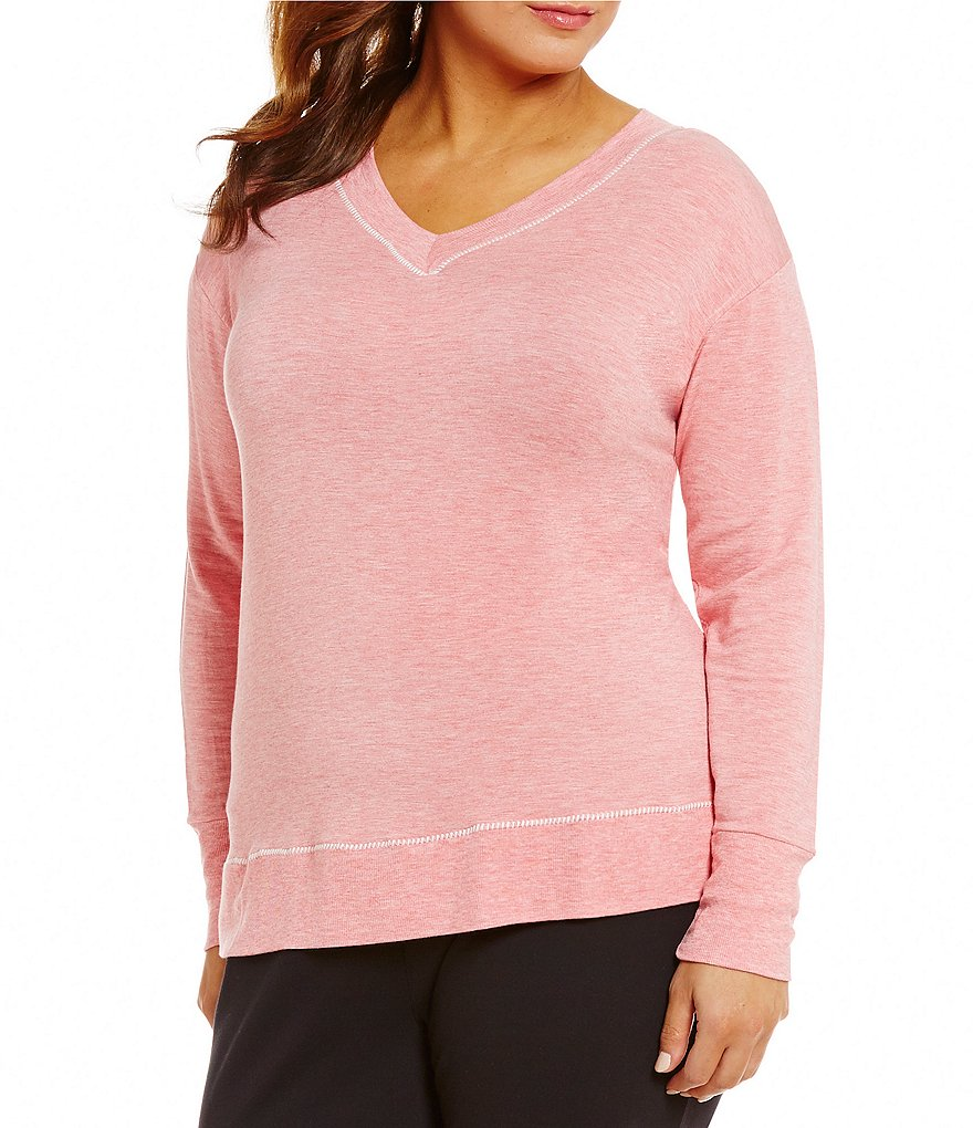 Westbound Plus Long Sleeve Plush V-Neck Top