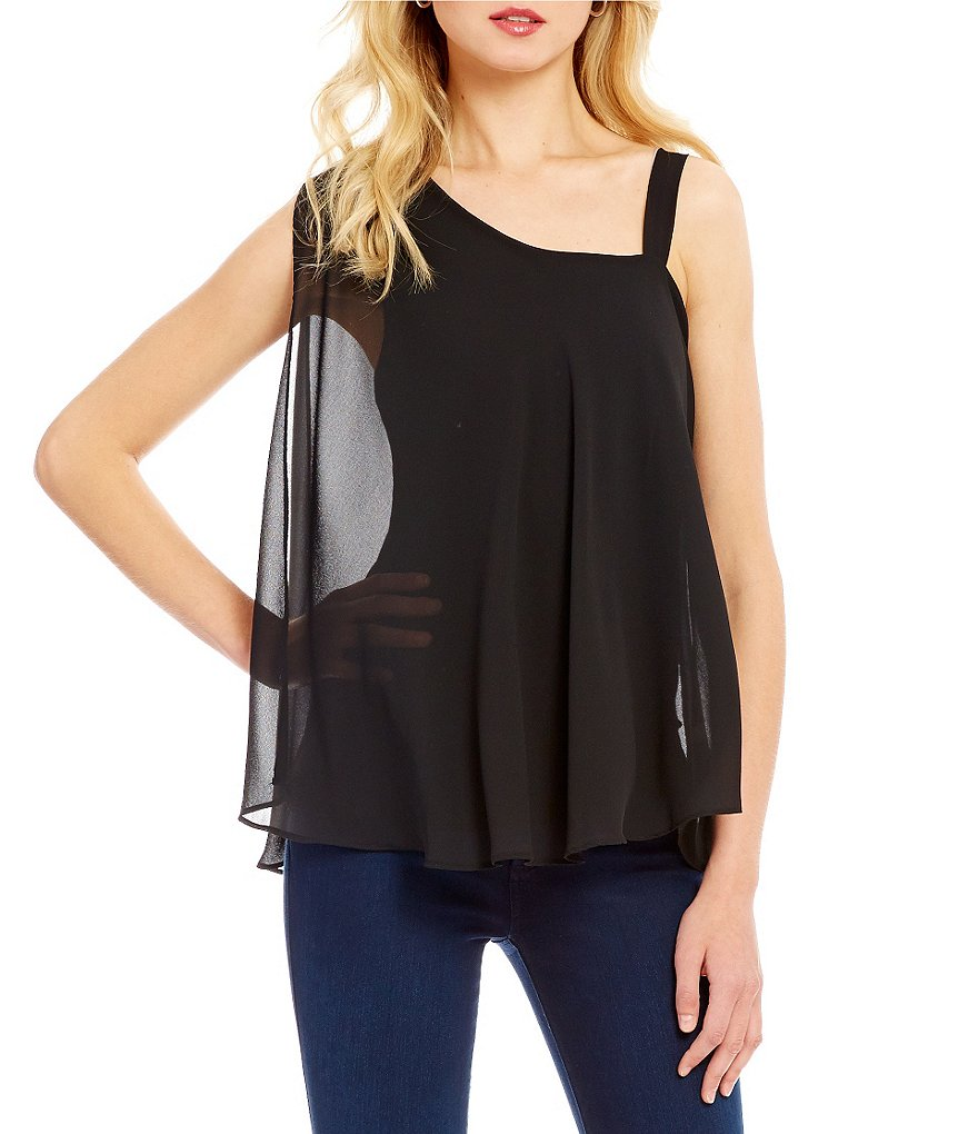Bobeau One-Shoulder Flutter Sleeve Top