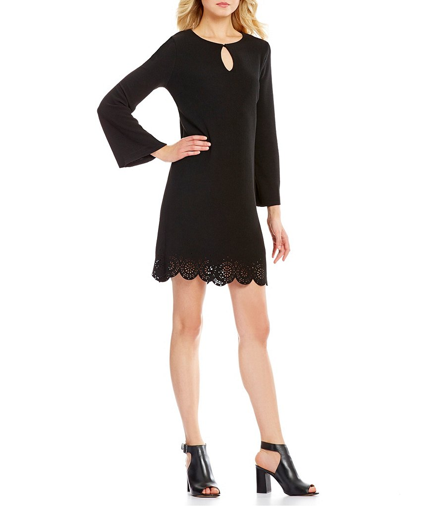 Bobeau Long Sleeve Keyhole Neck Scalloped Hem Dress