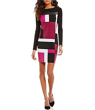 Jones New York Geometric Block Print Matte Jersey Shift Dress