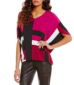 Jones New York Geometric Block Print Poncho Top
