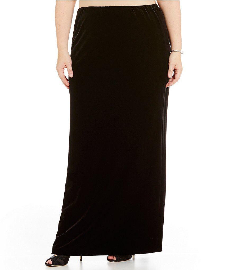 Alex Evenings Plus Stretch Velvet Skirt