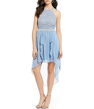 Jodi Kristopher Lace Bodice Halter Ruffle High-Low A-line Dress