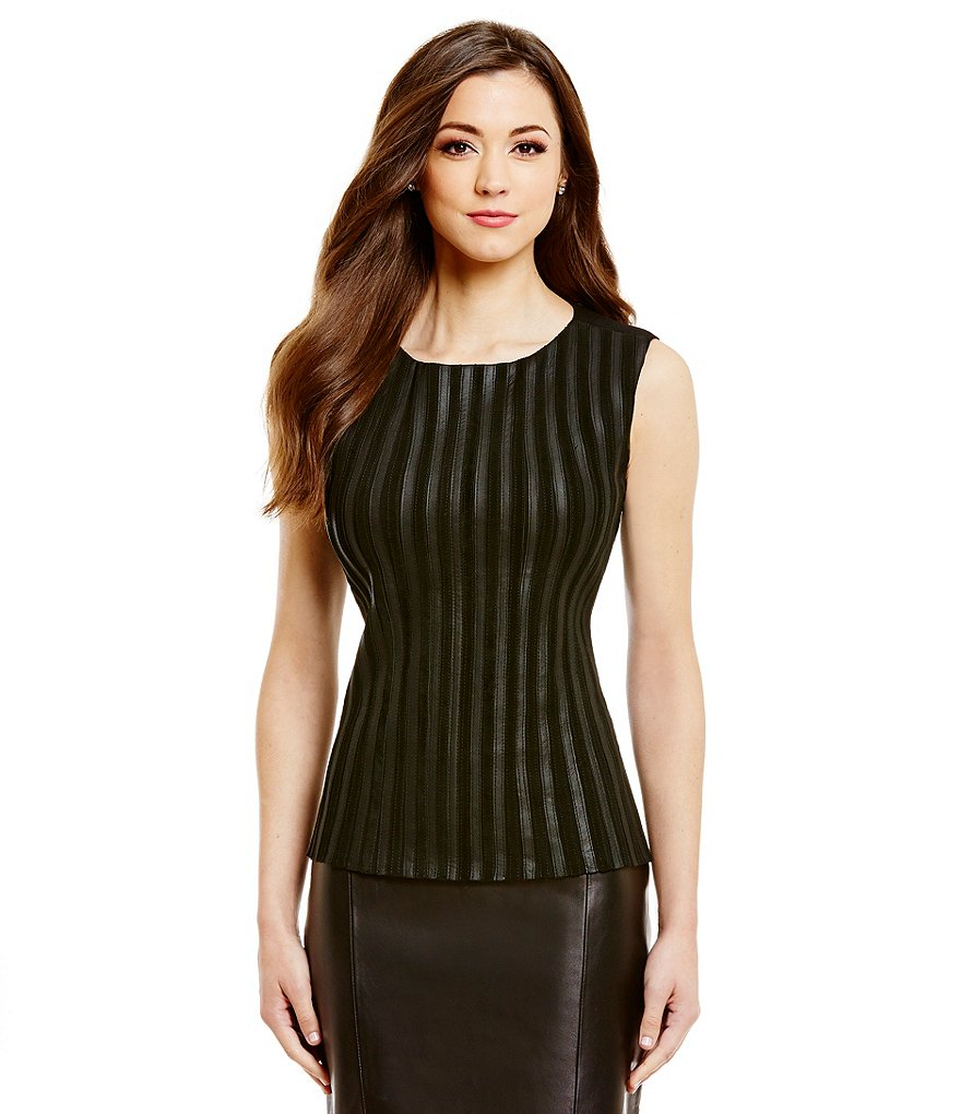 Antonio Melani Fine Leather Sleeveless Sonya Top
