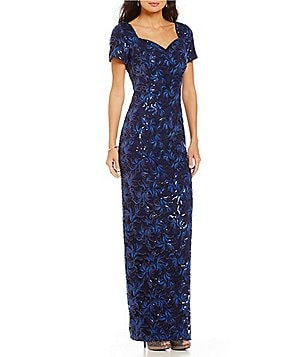 Brianna Cap-Sleeve Embroidered Sequin Gown