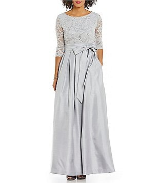 Jessica Howard Lace-Bodice Taffeta Sequin Embellished Ballgown