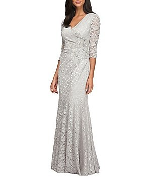 Alex Evenings V-Neck 3/4 Sleeve Lace Beaded-Waist A-Line Gown