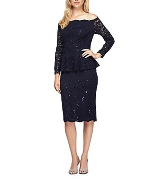 Alex Evenings Lace Off-the-Shoulder Long Sleeve Peplum Sheath Dress