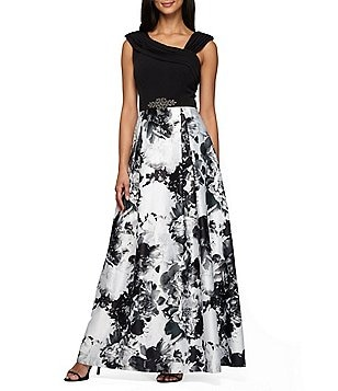 Alex Evenings Floral-Print Asymmetrical Neck Sleeveless Embellished Waist Ballgown