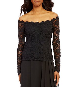 Marina Off-the- Shoulder Long Sleeve Solid Lace Blouse