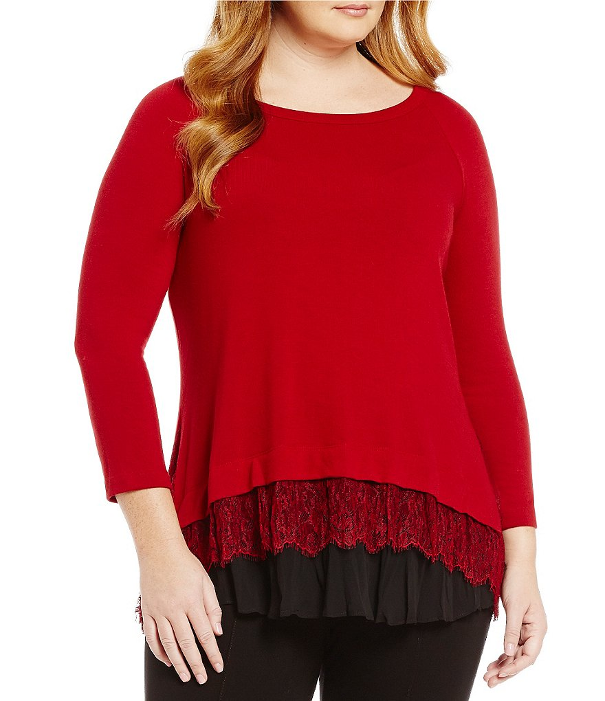 Karen Kane Plus Crew Neck Scalloped Lace Inset Sweater