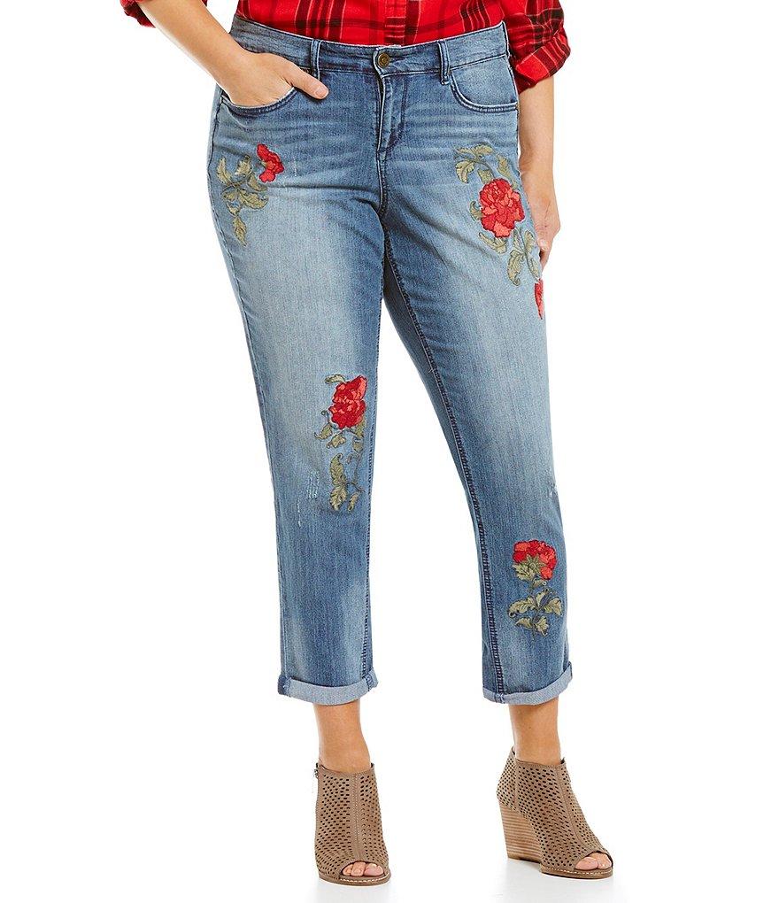 Code Bleu Plus Rose Embroidery Boyfriend Jeans | Dillards