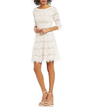 Jessica Howard Round Neck 2/4 Sleeve Lace Fit-and-Flare Dress